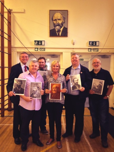Society Members join the head teacher at Keir Hardie Primary, Lanarkshire.